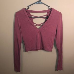 forever 21 small v neck long sleeve crop tee